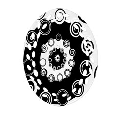 Fluctuation Hole Black White Circle Oval Filigree Ornament (two Sides) by Alisyart
