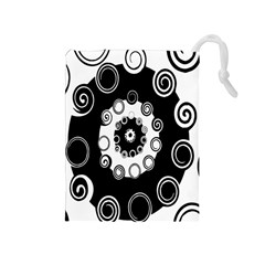Fluctuation Hole Black White Circle Drawstring Pouches (medium)  by Alisyart