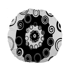 Fluctuation Hole Black White Circle Standard 15  Premium Flano Round Cushions by Alisyart