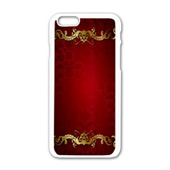 3d Red Abstract Pattern Apple Iphone 6/6s White Enamel Case by Simbadda