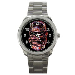 Hamburgers Digital Art Colorful Sport Metal Watch by Simbadda