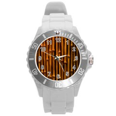 Abstract Bamboo Round Plastic Sport Watch (l) by Simbadda