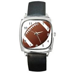 Football American Sport Ball Square Metal Watch by Alisyart