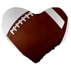 Football American Sport Ball Large 19  Premium Flano Heart Shape Cushions by Alisyart