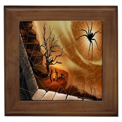 Digital Art Nature Spider Witch Spiderwebs Bricks Window Trees Fire Boiler Cliff Rock Framed Tiles by Simbadda