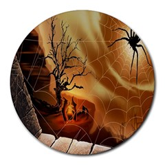 Digital Art Nature Spider Witch Spiderwebs Bricks Window Trees Fire Boiler Cliff Rock Round Mousepads by Simbadda