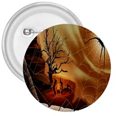 Digital Art Nature Spider Witch Spiderwebs Bricks Window Trees Fire Boiler Cliff Rock 3  Buttons by Simbadda
