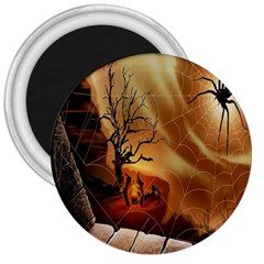 Digital Art Nature Spider Witch Spiderwebs Bricks Window Trees Fire Boiler Cliff Rock 3  Magnets by Simbadda