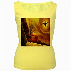 Digital Art Nature Spider Witch Spiderwebs Bricks Window Trees Fire Boiler Cliff Rock Women s Yellow Tank Top by Simbadda