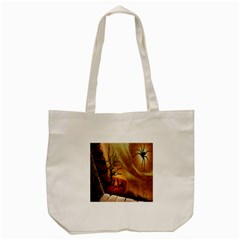 Digital Art Nature Spider Witch Spiderwebs Bricks Window Trees Fire Boiler Cliff Rock Tote Bag (cream) by Simbadda