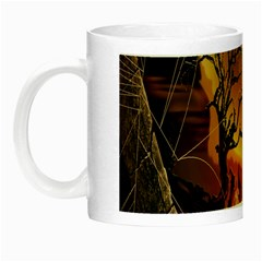 Digital Art Nature Spider Witch Spiderwebs Bricks Window Trees Fire Boiler Cliff Rock Night Luminous Mugs by Simbadda