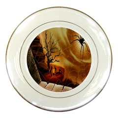 Digital Art Nature Spider Witch Spiderwebs Bricks Window Trees Fire Boiler Cliff Rock Porcelain Plates by Simbadda