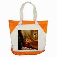 Digital Art Nature Spider Witch Spiderwebs Bricks Window Trees Fire Boiler Cliff Rock Accent Tote Bag by Simbadda