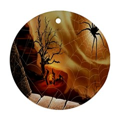 Digital Art Nature Spider Witch Spiderwebs Bricks Window Trees Fire Boiler Cliff Rock Round Ornament (two Sides) by Simbadda