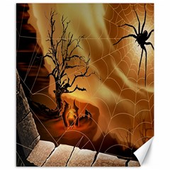 Digital Art Nature Spider Witch Spiderwebs Bricks Window Trees Fire Boiler Cliff Rock Canvas 8  X 10  by Simbadda