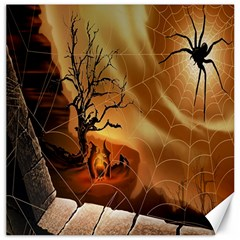 Digital Art Nature Spider Witch Spiderwebs Bricks Window Trees Fire Boiler Cliff Rock Canvas 16  X 16   by Simbadda