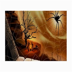 Digital Art Nature Spider Witch Spiderwebs Bricks Window Trees Fire Boiler Cliff Rock Small Glasses Cloth (2 Side) by Simbadda