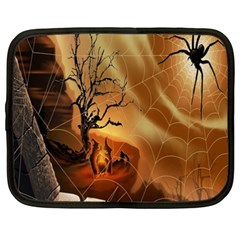 Digital Art Nature Spider Witch Spiderwebs Bricks Window Trees Fire Boiler Cliff Rock Netbook Case (xxl)  by Simbadda