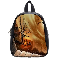 Digital Art Nature Spider Witch Spiderwebs Bricks Window Trees Fire Boiler Cliff Rock School Bags (small)  by Simbadda