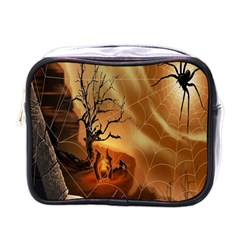 Digital Art Nature Spider Witch Spiderwebs Bricks Window Trees Fire Boiler Cliff Rock Mini Toiletries Bags
