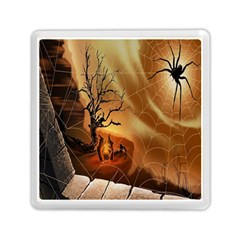 Digital Art Nature Spider Witch Spiderwebs Bricks Window Trees Fire Boiler Cliff Rock Memory Card Reader (square)  by Simbadda