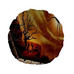 Digital Art Nature Spider Witch Spiderwebs Bricks Window Trees Fire Boiler Cliff Rock Standard 15  Premium Round Cushions by Simbadda