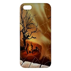 Digital Art Nature Spider Witch Spiderwebs Bricks Window Trees Fire Boiler Cliff Rock Apple Iphone 5 Premium Hardshell Case by Simbadda