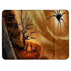 Digital Art Nature Spider Witch Spiderwebs Bricks Window Trees Fire Boiler Cliff Rock Samsung Galaxy Tab 7  P1000 Flip Case by Simbadda