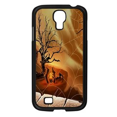 Digital Art Nature Spider Witch Spiderwebs Bricks Window Trees Fire Boiler Cliff Rock Samsung Galaxy S4 I9500/ I9505 Case (black) by Simbadda