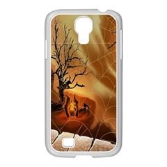 Digital Art Nature Spider Witch Spiderwebs Bricks Window Trees Fire Boiler Cliff Rock Samsung Galaxy S4 I9500/ I9505 Case (white)