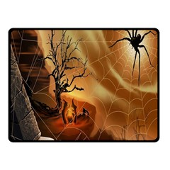Digital Art Nature Spider Witch Spiderwebs Bricks Window Trees Fire Boiler Cliff Rock Double Sided Fleece Blanket (small)  by Simbadda