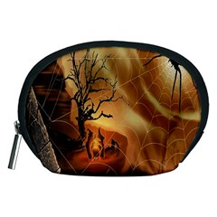 Digital Art Nature Spider Witch Spiderwebs Bricks Window Trees Fire Boiler Cliff Rock Accessory Pouches (medium)  by Simbadda