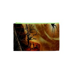 Digital Art Nature Spider Witch Spiderwebs Bricks Window Trees Fire Boiler Cliff Rock Cosmetic Bag (xs) by Simbadda