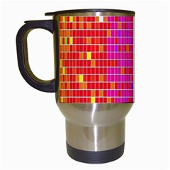 Square Spectrum Abstract Travel Mugs (white) by Simbadda