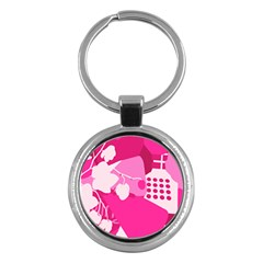 Flower Floral Leaf Circle Pink White Key Chains (round)  by Alisyart