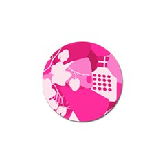 Flower Floral Leaf Circle Pink White Golf Ball Marker by Alisyart