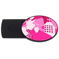 Flower Floral Leaf Circle Pink White Usb Flash Drive Oval (2 Gb) by Alisyart