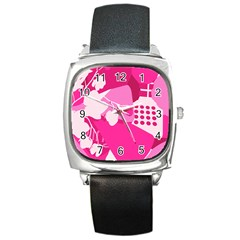 Flower Floral Leaf Circle Pink White Square Metal Watch by Alisyart