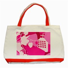 Flower Floral Leaf Circle Pink White Classic Tote Bag (red) by Alisyart