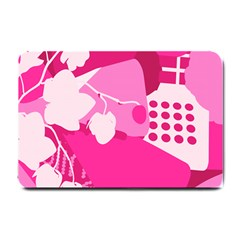 Flower Floral Leaf Circle Pink White Small Doormat  by Alisyart