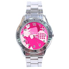 Flower Floral Leaf Circle Pink White Stainless Steel Analogue Watch by Alisyart