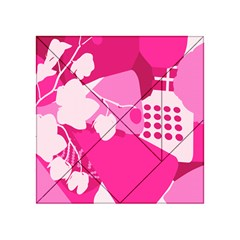 Flower Floral Leaf Circle Pink White Acrylic Tangram Puzzle (4  X 4 ) by Alisyart