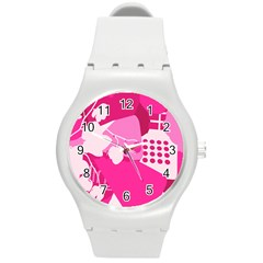 Flower Floral Leaf Circle Pink White Round Plastic Sport Watch (m) by Alisyart