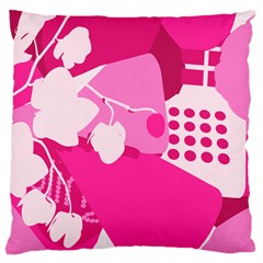 Flower Floral Leaf Circle Pink White Large Cushion Case (two Sides) by Alisyart
