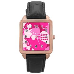 Flower Floral Leaf Circle Pink White Rose Gold Leather Watch  by Alisyart