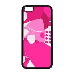 Flower Floral Leaf Circle Pink White Apple Iphone 5c Seamless Case (black) by Alisyart