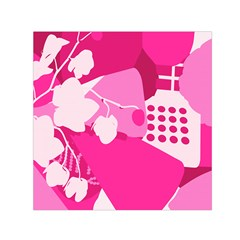 Flower Floral Leaf Circle Pink White Small Satin Scarf (square) by Alisyart