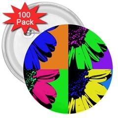 Flower Pop Sunflower 3  Buttons (100 Pack)  by Alisyart