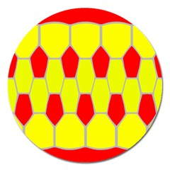 Football Blender Image Map Red Yellow Sport Magnet 5  (round) by Alisyart
