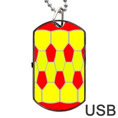 Football Blender Image Map Red Yellow Sport Dog Tag Usb Flash (one Side) by Alisyart